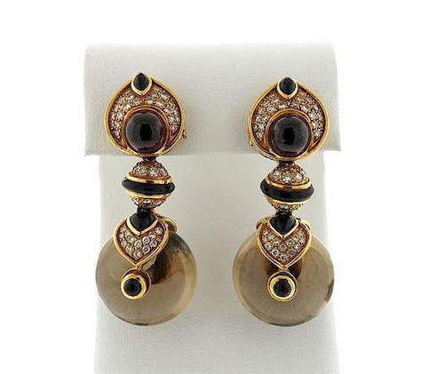 Marina B 18k Gold Diamond Gemstone Interchangeable Earrings