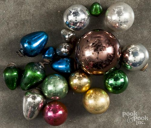 Group Of Eighteen Glass Kugel Christmas Ornaments With Embossed Caps