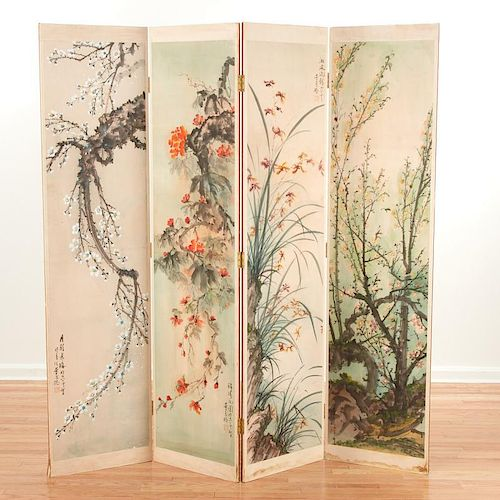 Large four-panel Chinese screen