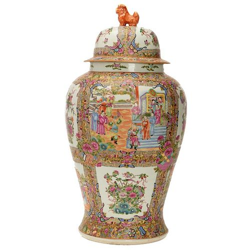 Chinese Rose Medallion floor urn and cover