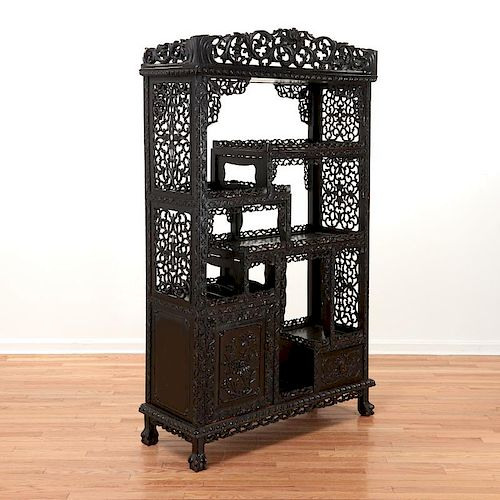 Chinese carved Zitan etagere