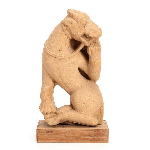 Early Indian sandstone animal carving