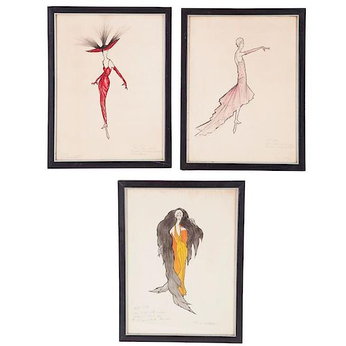 R.W. Little, (3) fashion sketches