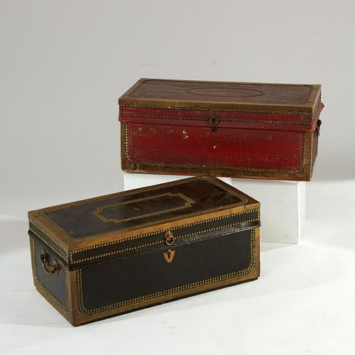 (2) Chinese Export tacked leather trunks