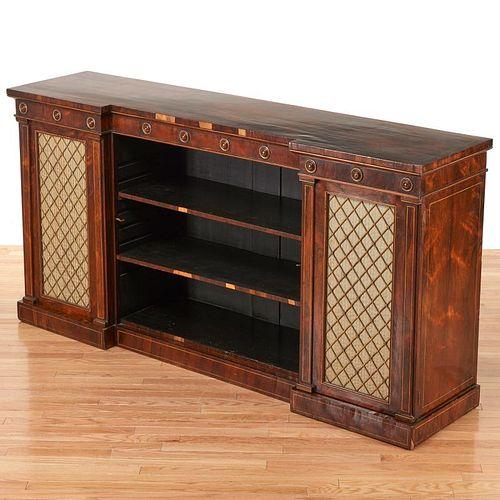 Regency brass inlaid bookcase cabinet
