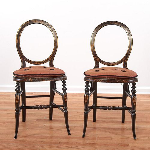 Pair Victorian faux tortoise fancy chairs
