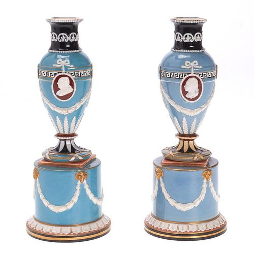 Pair Wedgwood Victoria Ware vases and stands