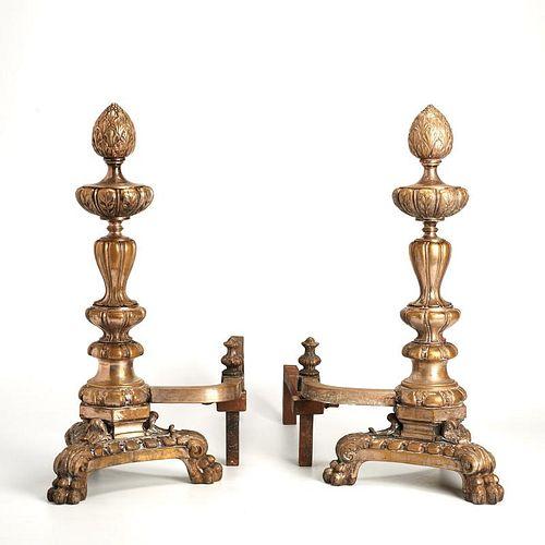 Nice pair silvered bronze andirons