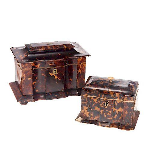(2) Regency inlaid tortoise tea caddies
