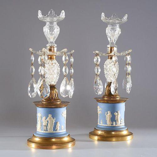 Pair English jasperware and bronze candlesticks