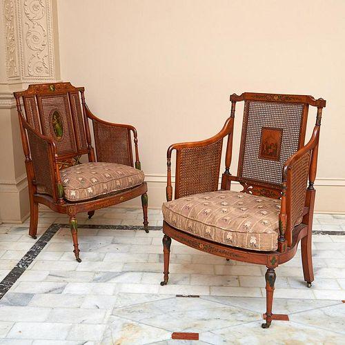Nice pair Edwardian painted satinwood bergeres