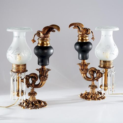 Pair Victorian bronze Argand lamps
