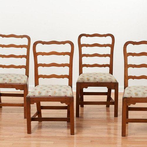 Set (6) George III ladder back side chairs