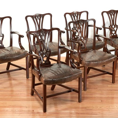 Set (10) Chippendale style mahogany dining chairs