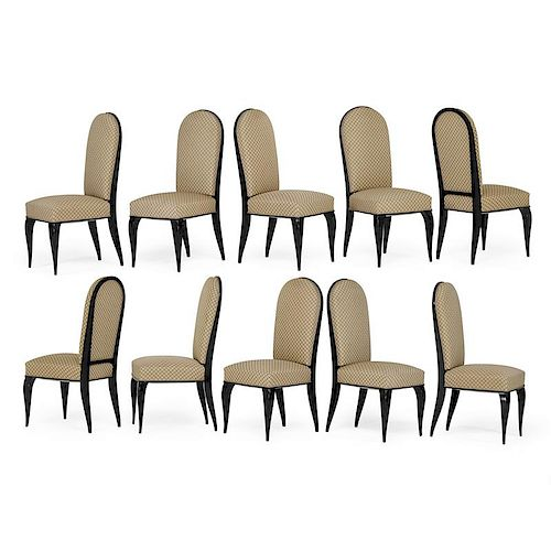 DOMINIQUE Ten tall-back dining chairs