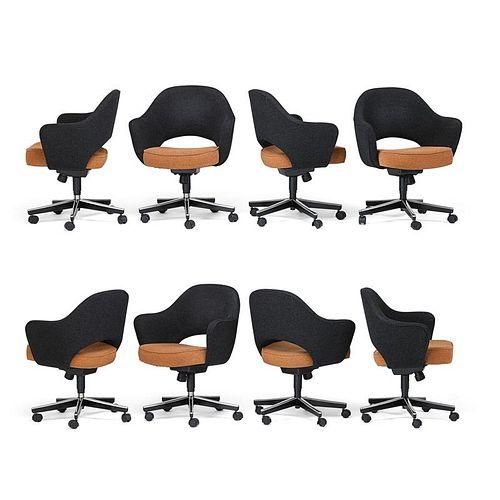 EERO SAARINEN; KNOLL Eight executive armchairs
