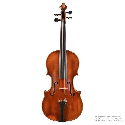 Czech Violin, labeled John Juzek/Violinmaker in Prague/Made in Czechoslovakia, length of back 360 mm, with case and two bows.