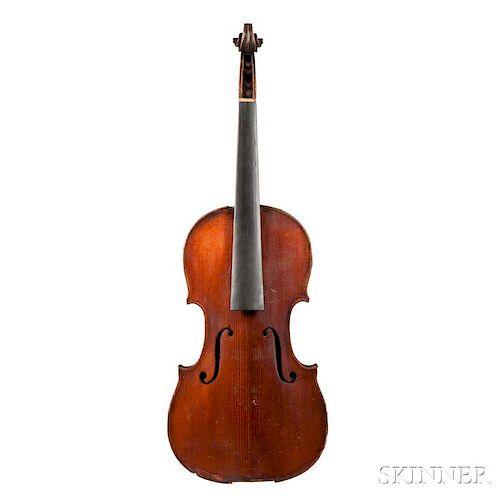 German Violin, Mittenwald, labeled Antonius Stradiuarius Cremonensis/Faciebat Anno 1690, length of back 350 mm.