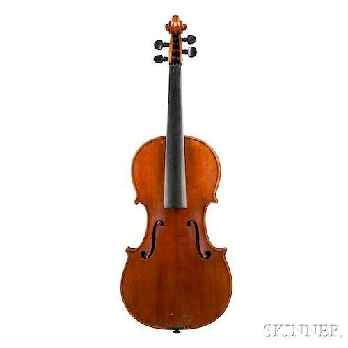 Violin, labeled Karl Friedr. Mages/Stüttgart - Anno 1950, length of back 360 mm.