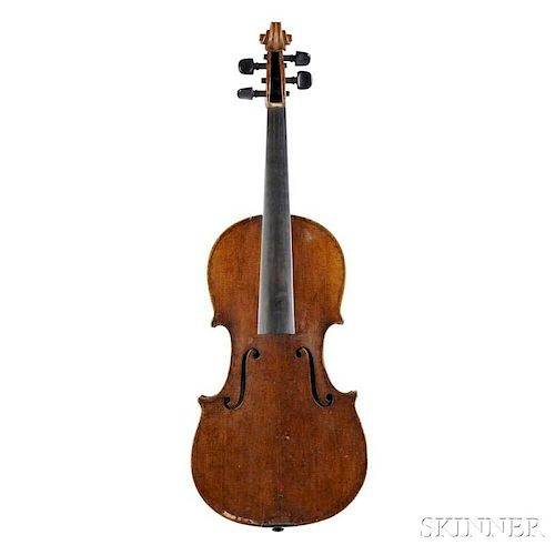 Violin, labeled GB de Lorenzi/Vicenza 1876, length of back 358 mm, with case.