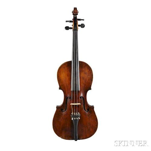 Violin, Landolfi School, labeled Petrus Antonius a Costa, length of back 357 mm, with case.