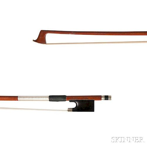 Nickel-mounted Violin Bow, the octagonal stick stamped BARNES-LONDON, weight 56.3 grams.