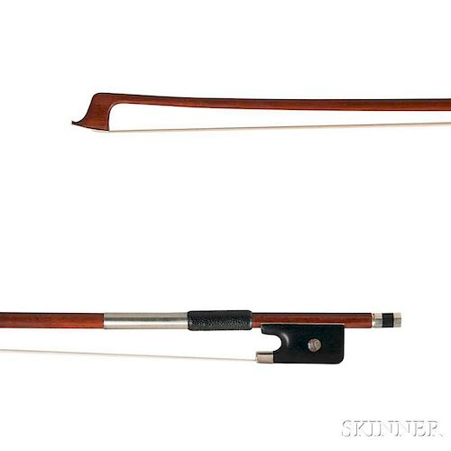 Nickel-mounted Violin Bow, the round stick stamped GERMANY, weight 63.5 grams.