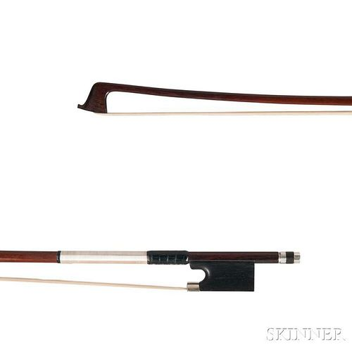 Silver-mounted Violin Bow, Dodd School, the round stick unstamped, weight 61.6 grams, (without tip).
