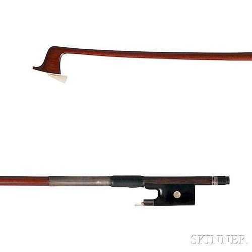 Silver-mounted Violin Bow, the round stick stamped CHANOT, weight 53.3 grams, (without hair).