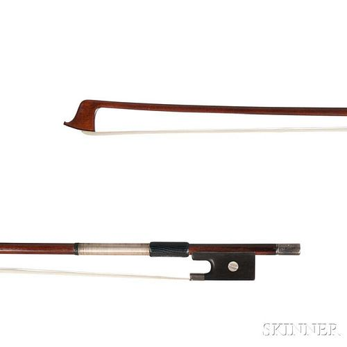 Silver-mounted Violin Bow, the round stick stamped JAS TUBBS, weight 58.5 grams.