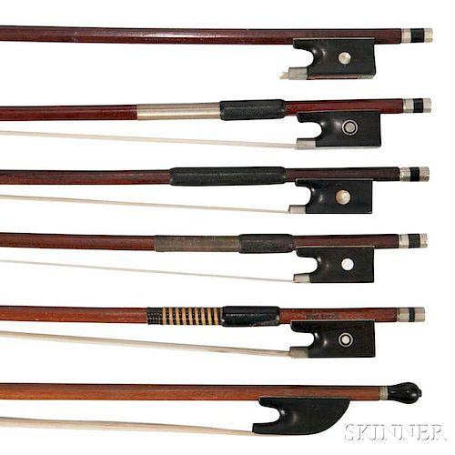 Six Violin Bows, various mounts.