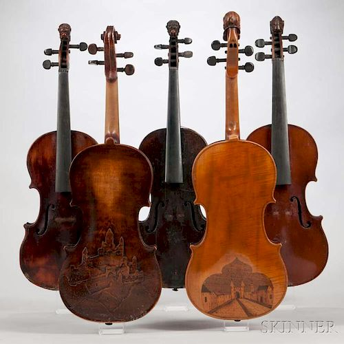 Five Violins, two with decorated backs, three with lion's head scrolls, length of back 361, 360, 360, 354, and 356 mm.
