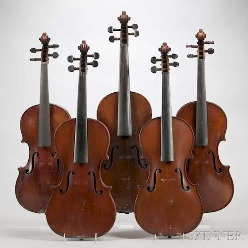 Viola and Four Violins, length of back 394, 363, 362, 360, and 358 mm.