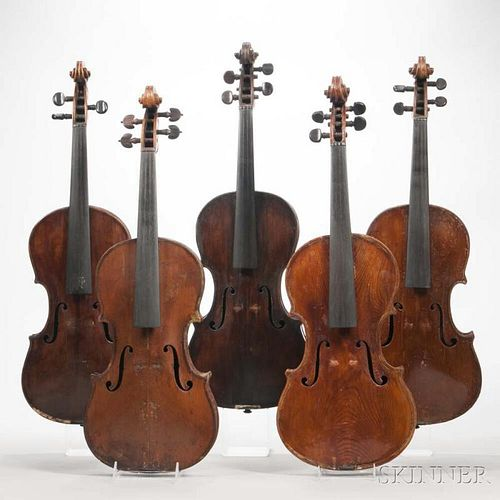 Five Violins, length of back 356, 356, 359, 356, and 356 mm.
