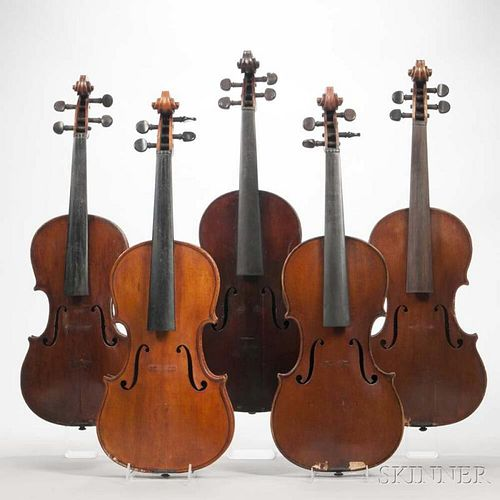 Five Violins, length of back 356, 360, 358, 348, and 361 mm.