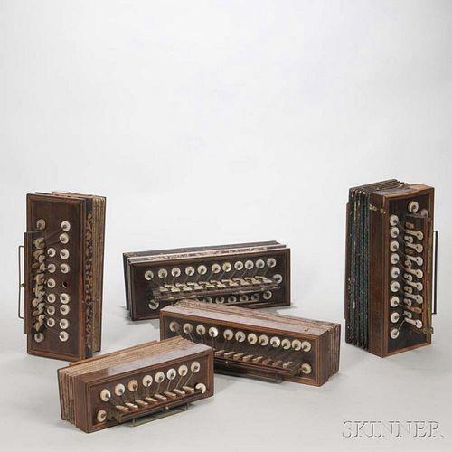 Five Flutinas, 19th Century, various sizes.