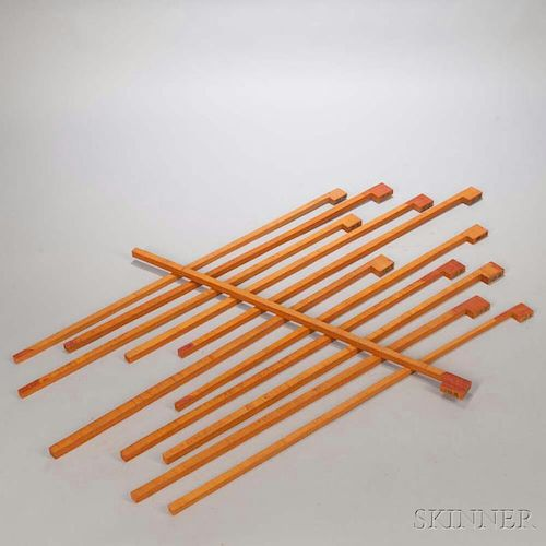Twelve Pernambuco Bow Blanks, the carton with bowmaker's notes, weight 4.4 lbs.Provenance: The estate of Randy L. Steenburgen