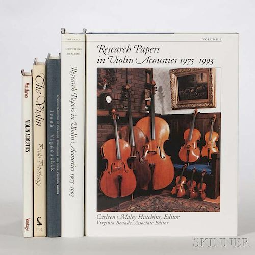 Five Books on Violin Acoustics, Hutchins, Carleen M., Research Papers in Violin Acoustics 1975-1993, two volumes; Peterlongo,