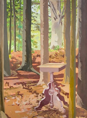 Lois Dodd, (American, b. 1927), Untitled (Can't See the End Table for the Trees)