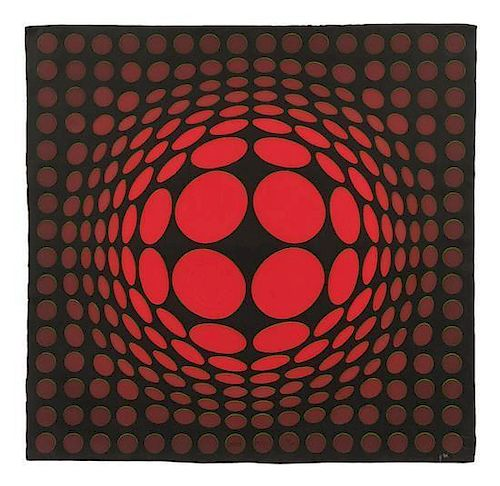 * Victor Vasarely, (French/Hungarian, 1908-1997), Sinlag Red and Green on Black together with Frank Gallo made original mold