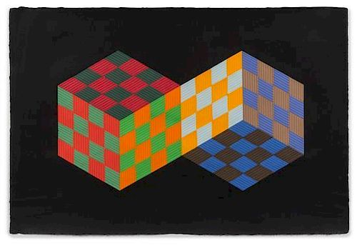 * Victor Vasarely, (French/Hungarian, 1908-1997), Untitled together with two color paper templates and a black and white myla