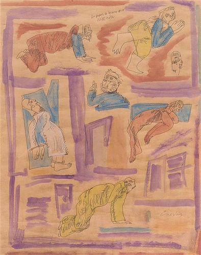 * Jose Luis Cuevas, (Mexican, b. 1934), Los Papeles de Salazar #10, 1983