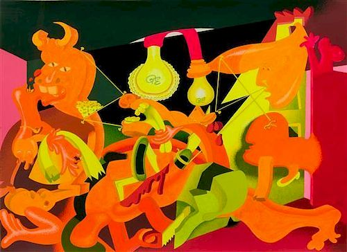 Peter Saul, (American, b. 1934), Guernica (Orange), 1977
