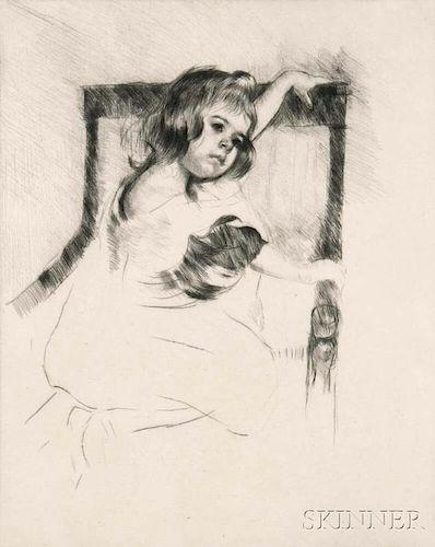 Mary Cassatt (American, 1844-1926)      Kneeling in an Armchair