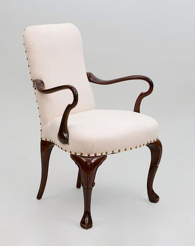 Queen Anne Style Stained Mahogany Armchair