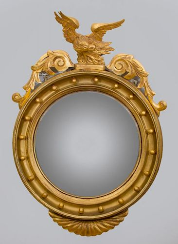 Federal Style Giltwood Convex Mirror with Eagle-Form Crest