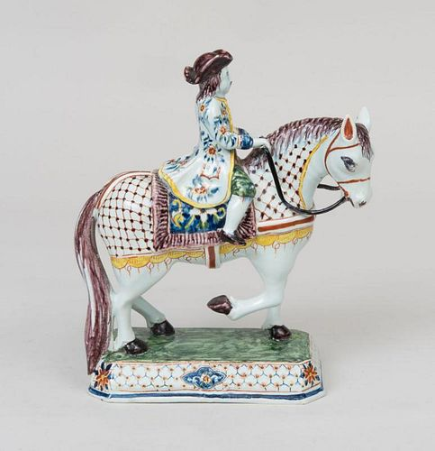 Delft Figure of a Rider on Horseback and Two Staffordshire Porcelain Spill Vases
