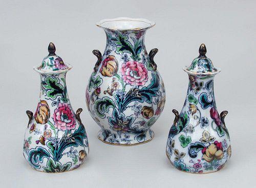 Three English Ironstone Vases