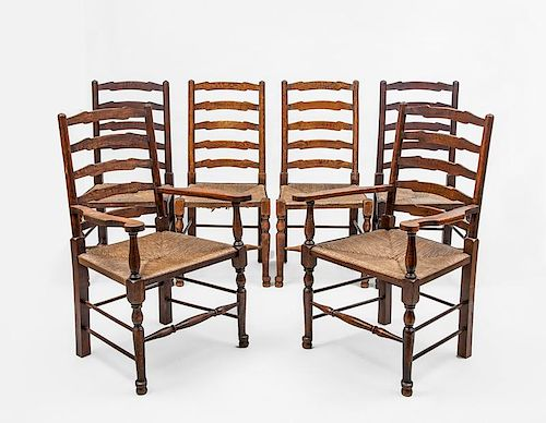 Set of Six English Provincial Stained Oak and Rush Ladder Back Chairs