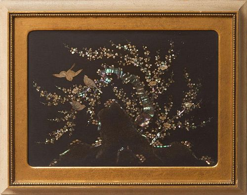 20th Century School, Mother-of-Pearl Inlaid Picture of Birds on a Flowering Tree